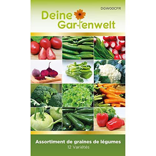 Lot de 12 Sachets de Graines de Légumes à Planter | Jardin potager, balcon | Tomate, concombre, radis, betterave, chou de Chine, chou-fleur, brocoli, laitue, carotte, chou rave, courgette, poivron