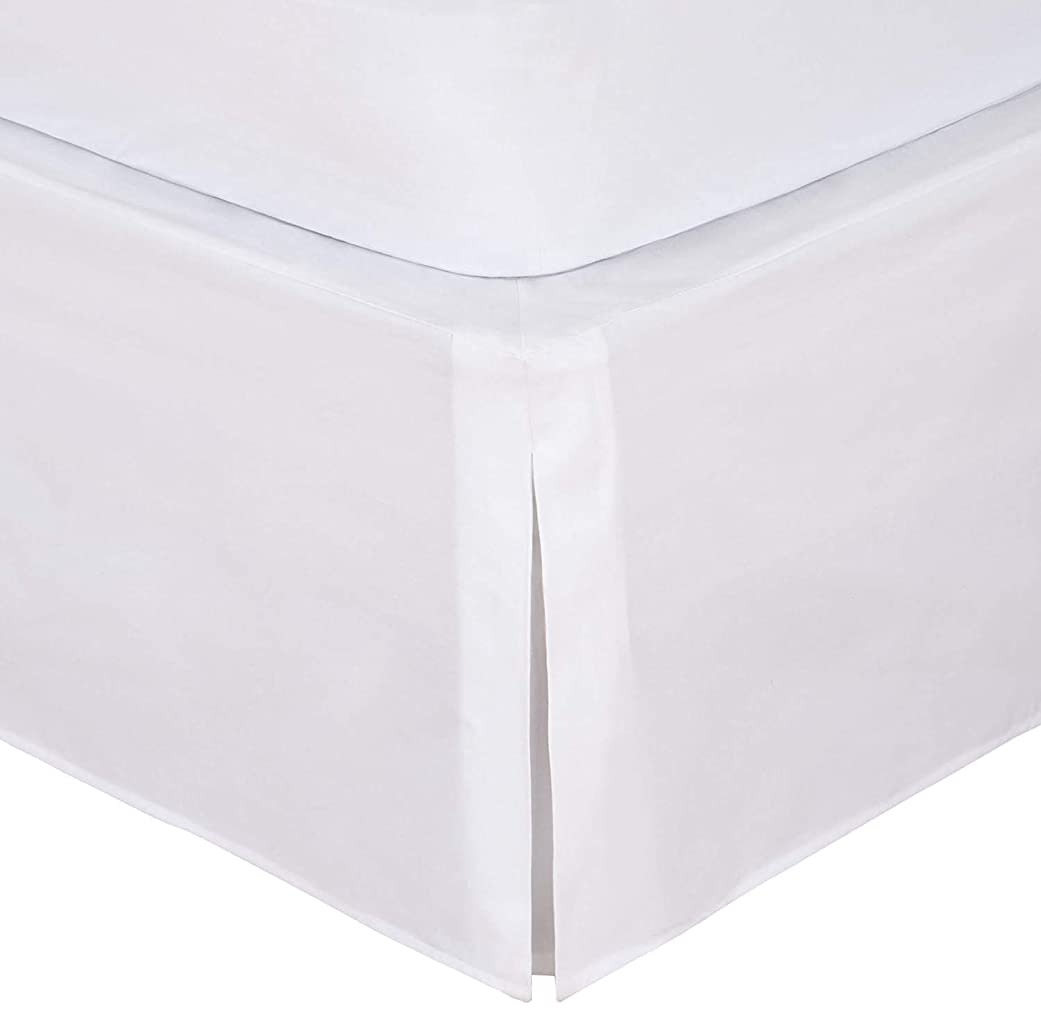 ロケーション中絶効果的500スレッド数ソリッドパターン簡単フィットワンピースプリーツ仕立てベッドスカート16インチドロップ長、100?%エジプト綿ホワイト?–?ツインサイズ