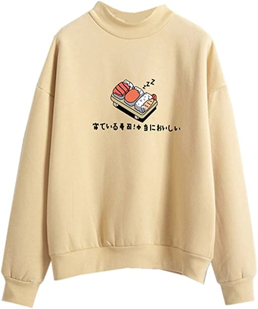 yellow sushi sweater cute edgy retro
