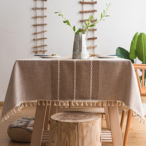 ColorBird Stitching Tassel Tablecloth Heavy Weight Cotton Linen Fabric Dust-Proof Table Cover for Kitchen Dinning Tabletop Decoration (Rectangle/Oblong, 55 x 70 Inch, Linen)