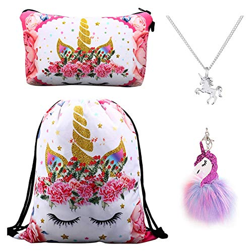 DRESHOW 4 Pack Unicorno Regali per Ragazze - Zaino Unicorno con Coulisse/Borsa per Make up/Unicorno Collana con Catena in Lega/Portachiavi