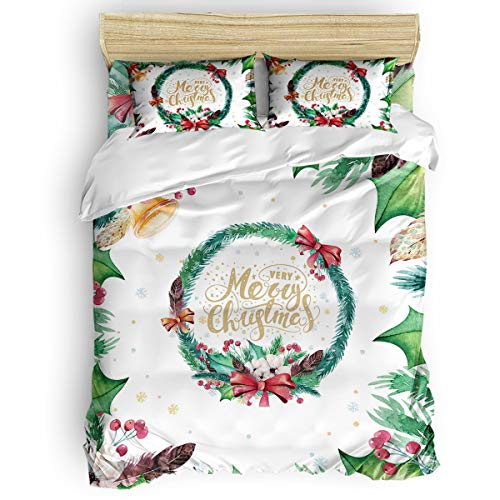 BABE MAPS 4 Piece Duvet Covers Set Washed Microfiber California King Merry Christmas Soft and Breathable Bedding Set with Zipper Closure Wrinkle Free Watercolor Xmas Pattern with Holly and Fearthers