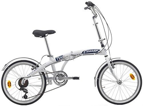 Cicli Cinzia Bicicletta 20' Citybike Carflexy 6/V Revo Shift V-Brake Alluminio, Bianco, Unisex – Adulto