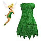 Fee Cosplay Kostüm Basteln Glocke Grün Kleid Tinkerbell Halloween Party Sexy Cosplay Minikleider Mit Perücke Drop Ship