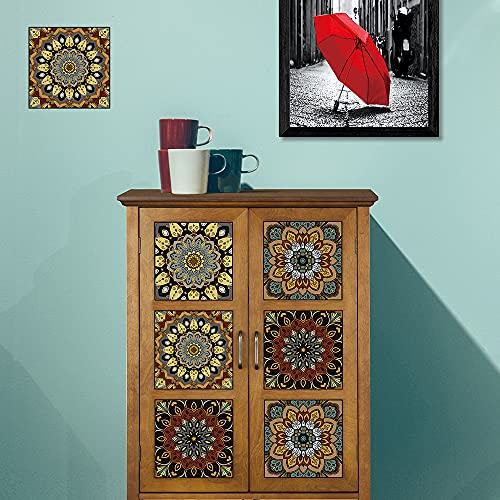 Pegatinas de Baldosas para Baño y Cocina, Hiser 10 Piezas Impermeable Azulejos Pegatinas Adhesivo Decorativo para Azulejos Pegatina de Pared (20x20cm,Mandala)