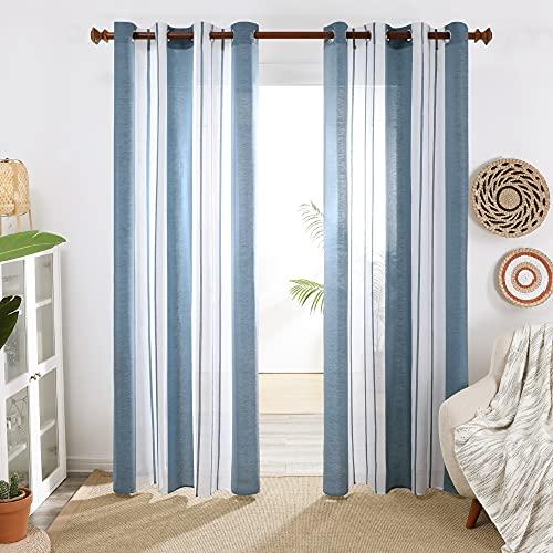 Deconovo Cortinas Salón, Visillos Translucidas Modernas Rayas, para Dormitorio Decorativo, con Ojales,...