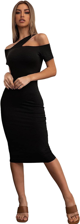 SheIn Women's Asymmetrical Cold Shoulder Short Sleeve Pencil Bodycon Midi Dress