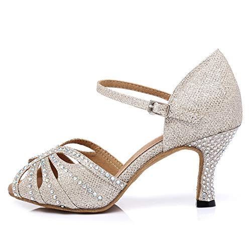 HROYL Zapatos de Baile para Mujeres y Niñas Latino de Diamantes de...