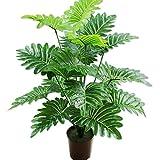 VJRQM 65 cm 18 tenedor grandes plantas artificiales Monstera plástico rama de palmera tropical árbol de coco falso hogar sala de estar decoración de oficina