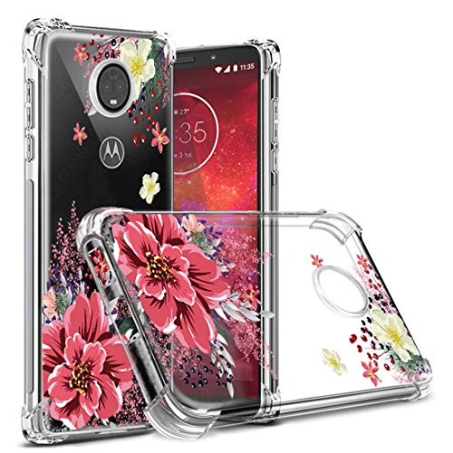 Moto Z3 Case,Moto Z3 Play Case Floral,Osophter Cell Phone Flower Cover for Girls Women Shock-Absorption Flexible Soft Silicone Cases for Motorola Z3 Play(Red Flower)