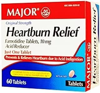 Major Heartburn Relief TABS FAMOTIDINE-10 MG Pink 60 Tablets UPC 309045529522