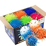 Premium Quality Large & Thick Puffer Balls for Fun Kids Party Favors - Bulk Pack of 12 - Hairy and Spikey Therapy Toys