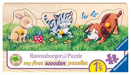 Ravensburger Kinderpuzzle 03203 - Niedliche Tierkinder - 5 Teile Holzpuzzle