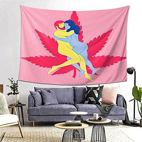 PATINISA Tapiz de Regalo,El Sexo y la Hoja de Cannabis es una Buena combinación Marihuana Cannabis Weed Ganja,Tapiz Bohemio diseño para Colgar en la Pared,Sala de Estar Dormitorio 80x60in