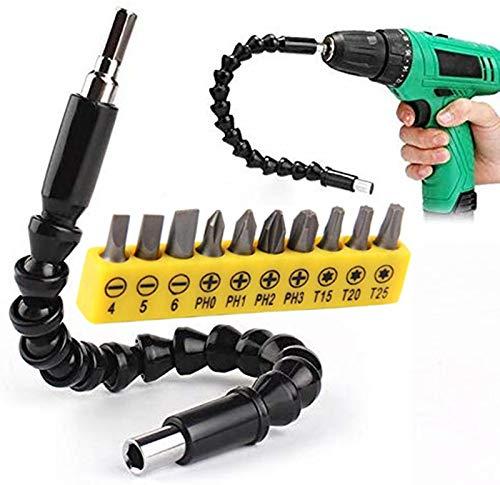 Aigoo Universal-Schraubendreher, 300 mm, Universalwelle, Bits für Welle, flexibel, elektronisch, Spindel, Verlängerung, Schraubendreher-Halterung, Verbindung Link mit 10 Bits Power Tools