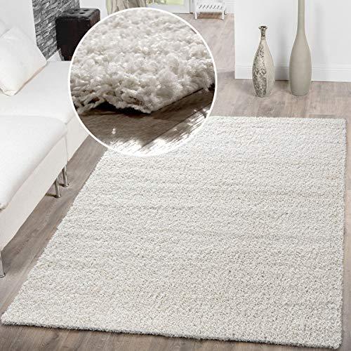 T&T Design Alfombra Shaggy De Pelo Largo para Salón A Precio Inmejorable, Größe:160x220 cm, Farbe:Cream