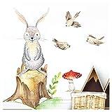 Little Deco Kinderzimmer Wandtattoo Hase Vögel I 73 x 60 cm (BxH) I Pilz Wandbilder Kinderzimmer Deko Babyzimmer Junge Wandsticker Kinder Aufkleber Sticker DL206-11