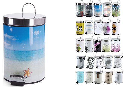 MSV Kosmetikeimer Paradise Mülleimer Treteimer Abfalleimer - 3 Liter – mit herausnehmbaren Inneneimer