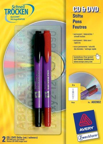 Avery Zweckform CD/DVD Pen 2er-Pack rot/schwarz
