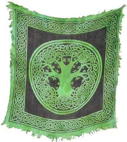 Celtic Tree of Life Black and Green Altar Cloth 18 x 18 Tapestries Sarong (Symbols of Various Religions and Nations, from Christianity to Islam)