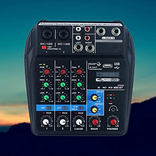 YSHTAN Sound Mixing Console Orchestral Instrument Sound Console TU04 BT Sound Mixing Console Record Monitor AUX USB 4 kanalen Audio Mixer - Zwart