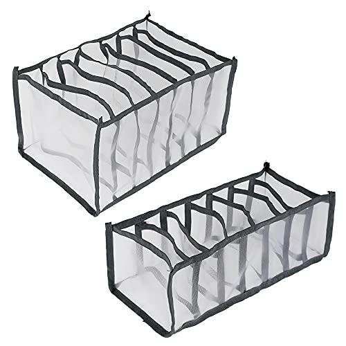 Cassetto Organizer divisor per armadio internoi ,Organizer per cassetti,Usato per pantaloni jeans e leggings,Armadio Divisori Pieghevole Storage Box (2PCS Misto;Grigio)