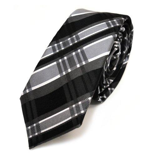 TigerTie - schmale Designer Seidenkrawatte in schwarz grau weiss kariert - Schlips in schmaler Ausfertigung