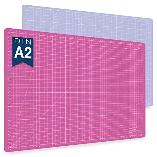 Guss & Mason tapis de découpe auto-cicatrisant A2, rose, bleu ou vert. Parfait pour la couture, le bricolage et le patchwork. 60 x 45 cm, double face indications en cm et pouces