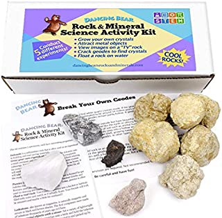 "Dancing Bear Rock & Mineral Science Activity Kit (10 Pc Set for 5 Lab Experiments), Grow Your Own Crystals, Crack Open Geodes, Magnetic Lodestone, Float a Rock,""TV"" Stone, Fun STEM Geology Exploration"
