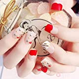 Uñas postizas 24 Unids/set Acrílico Claro Corto Cuadrado Fak Nail White Red Mujeres Diy Falsenails 3D Rivet Star Nail Art Tip