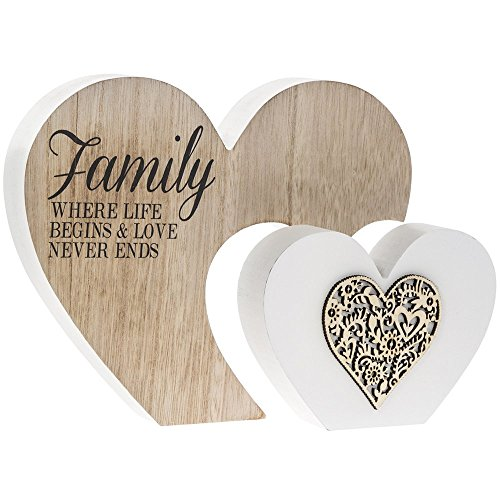 The Leonardo Collection Laser Cut Woodcraft Heart Plaque - Family - where life begins and love never ends