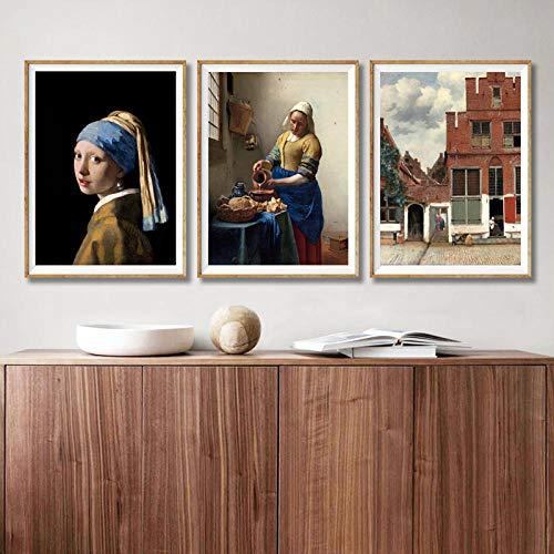 QZHSCYB Chica con un Pendiente de Perla de Johannes Vermeer Gallery Póster de Lienzo de Arte de Pared The Milkmaid Art Painting Prints Living Room Decor -16x24 Pulgadas sin Marco