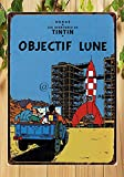 Froy Tintin Destination Moon (Objectif Lune) Wall Tin Sign Retro Iron Poster Painting Plaque Metal Sheet Vintage Personalized Art Creativity Decoration Crafts for Cafe Bar Garage Home