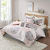 Home Essence Lightweight King Comforter Set - Springfield 7 Pieces All Season Comforter Goose Down Alternative Fill - Brown and Coral - Includes, 2 Shams, Bedskirt and Pillows