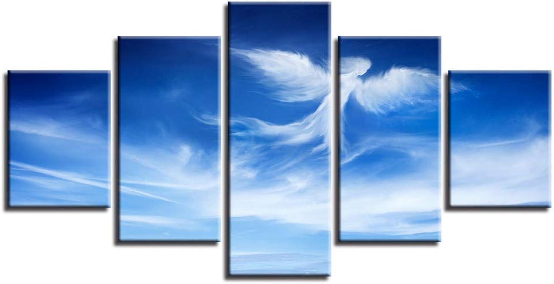 Obtén lo ultimo ASDZXC Imágenes HD Impreso Decoración Parojo Moderna Moderna Moderna 5 Unids Azul Cielo ángel Forma De Nube Paisaje Lienzo Pintura Arte Cartel Modular Marco  venta de ofertas