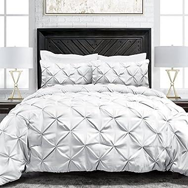 Sleep Restoration 1900 Series Pinch Pleat 3-Piece Luxury Goose Down Alternative Comforter Set - Premium Hypoallergenic All Season Pintuck Style Duvet Set -King/Cal King - White
