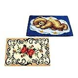 P Prettyia 2er- Sets Knüpfteppich Formteppich Knüpfpackung - Schmetterling und Bär für Kinder und Anfänger