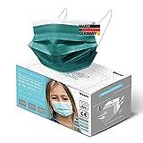 HARD 50x Kinder Medizinischer Mundschutz, Made in Germany, TYP IIR OP-Maske, CE zertifiziert EN14683 99,78% BFE 3-lagig, schützende Mund-Nasen-Bedeckung, Einweg-Gesichtsmasken - Dunkelgrün