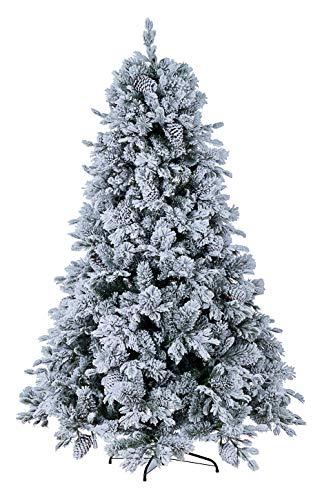 BIZZOTTO Albero di Natale Innevato Bianco 180 cm Effetto Naturale Folto con Pigne, Apertura Facile ad Ombrello, Arves