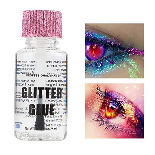 Gel para Purpurina Cosmética, 25 ml/Botella Gel de Brillo de Maquillaje Temporal Pegamento Pintura Corporal Lentejuelas en Polvo Gel de Belleza Herramienta