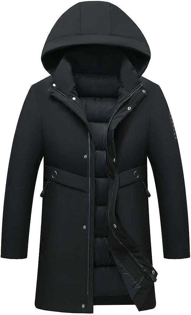 Men's Zipper Winter Warm Coat with Hood Outdoor Windproof Outwear Jacket
