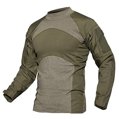 Herren Langarmshirt Baumwollhemd Longsleeve Shirt Freizeit Camo Shirt Outdoor Military Shirts Atmungsaktiv Sport Running Hemd Cotton Tactical Combat Shirts Slim Fit Casual Camping Top Grün Army Green