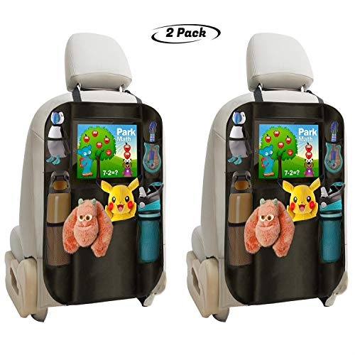 lebogner Backseat Organizer + iPad and Tablet Holder, 2 Pack X-Large Multifunctional 5 Pocket Storage Car Seat Back Organizer and Kick Mat Protectors, to Organize All Baby, Kids Travel Accessories