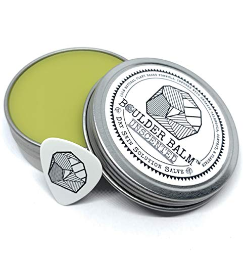 Boulder Balm: Dry Skin Salve for Active Hands & Body Hemp Oil Herb Infused Healing Balm Handcrafted by Rock Climbers (Unscented) 2oz Tin
