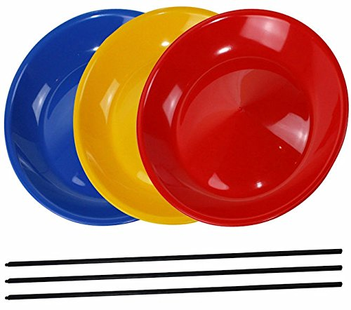 Spinning Plates Plate Juggling Easy Circus Skills For Children 3x Plates With Plastic Sticks Plate Balancing