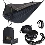 Everest Double Camping Hammock with Mosquito Net | Bug-Free Camping, Hiking, Backpacking & Survival Outdoor Hammock Tent | Reversible, Integrated, Lightweight, Ripstop Nylon | Navy/Charcoal/Net Black