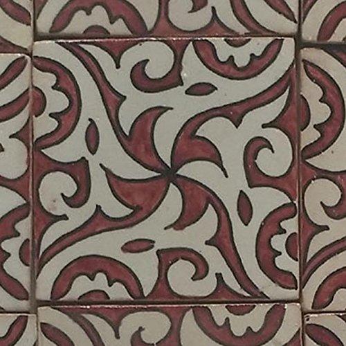 Casa Moro orientalische Keramikfliese Hiyam rot 10x10 cm rot weiß handbemalte marokkanische Fliese Kunsthandwerk aus Marrakesch Wandfliese für schöne Küche Dusche Badezimmer | FL7122