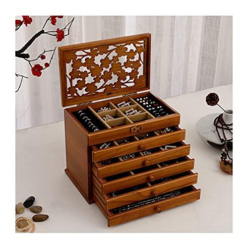 WPJ Caja de Almacenamiento de Joyas de 6 Capas Caja de Almacenamiento Retro de Madera multifunción con Cerradura Grande Caja de joyería de Gran Capacidad Caja de Almacenamiento Gabinete de joyería