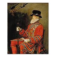 Hbdjns ジョンエベレットミレー《国王衛士》キャンバスポスターウォールアート油絵プリント額縁リビングルーム家の装飾-50X70Cmx1フレームなし