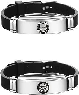 WenShen's store Supehero Cosplay Logo Fans Stainless Steel Adjustable Size Wristband Bracelet 2 PCS